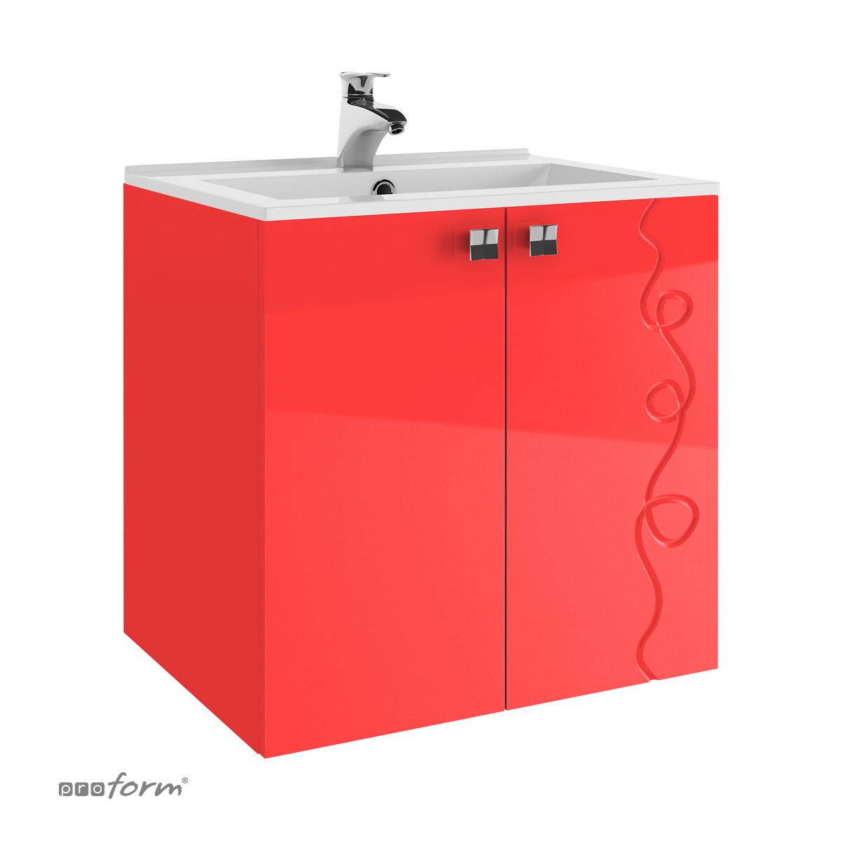 Szafka ARCO pod umywalkę 60 z dwoma frontami czerwona