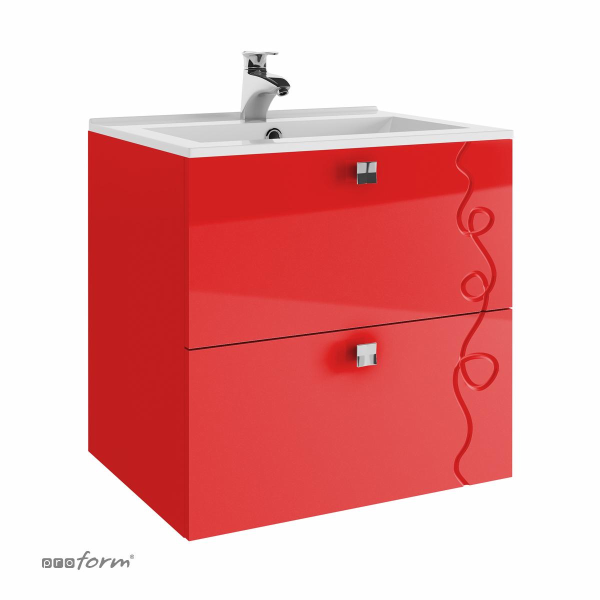 Szafka ARCO pod umywalkę 60 2 szuflady czerwona