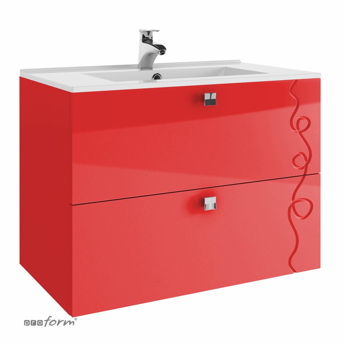 Szafka ARCO pod umywalkę 80 - 2 szuflady czerwona