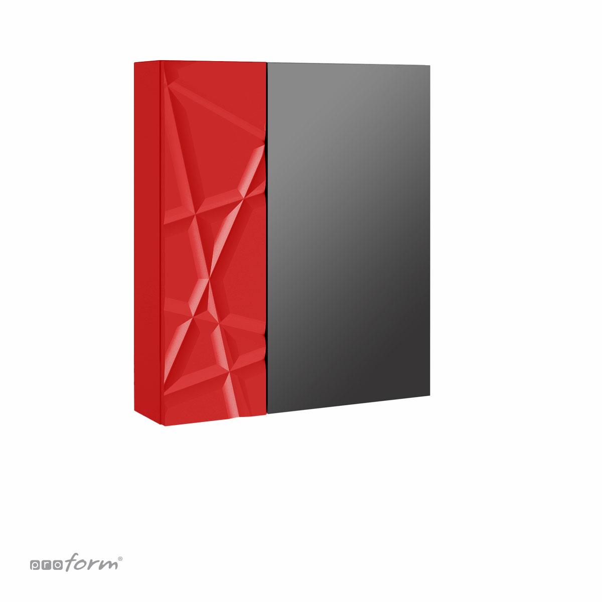 Szafka CRISTALLO z lustrem czerwona