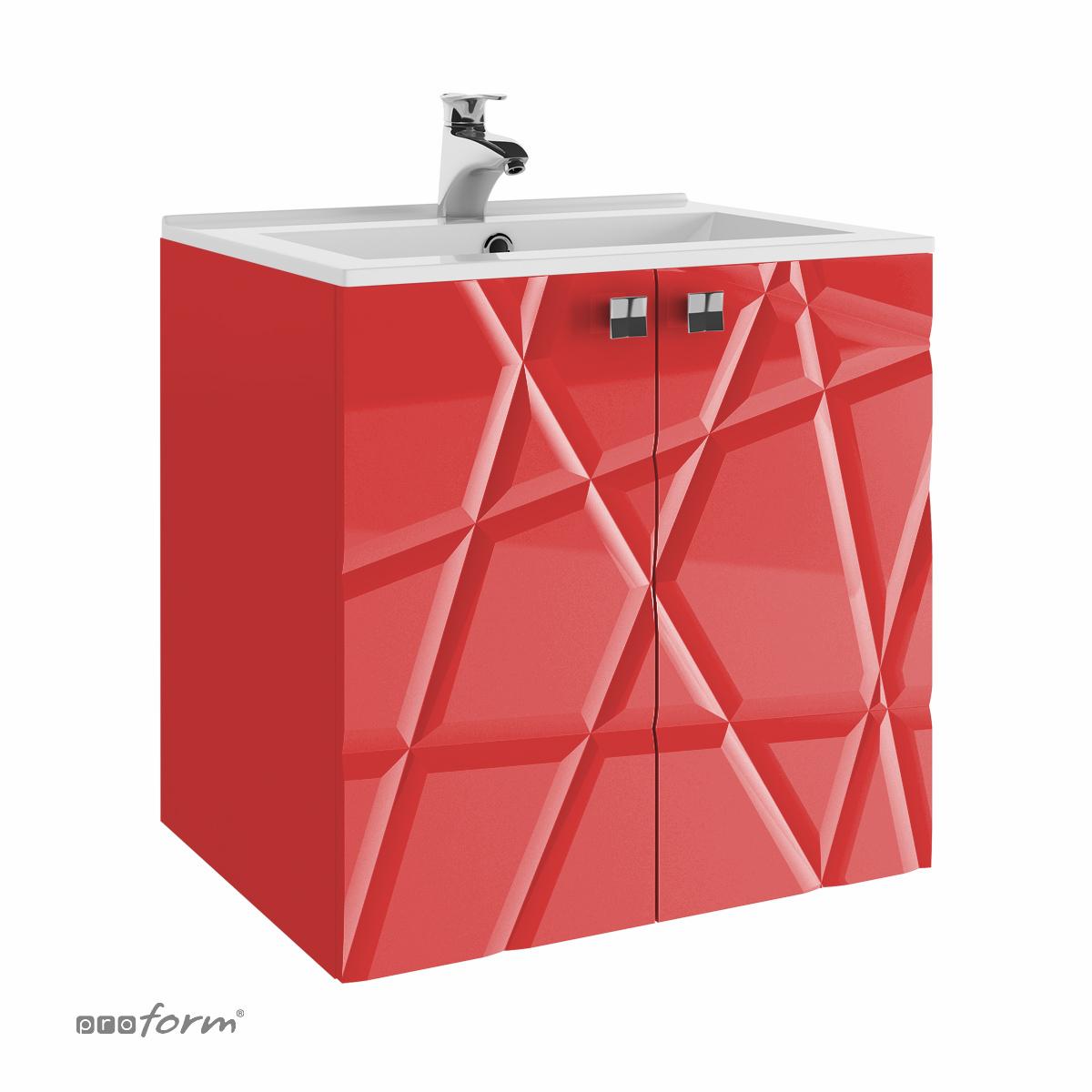 Szafka CRISTALLO pod umywalkę 60 z dwoma frontami czerwona