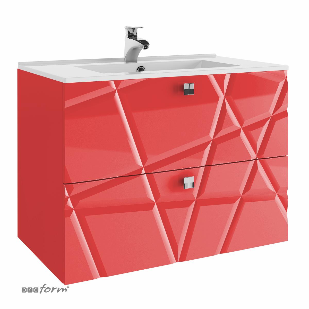 Szafka CRISTALLO pod umywalkę 80 z dwoma szufladami czerwona