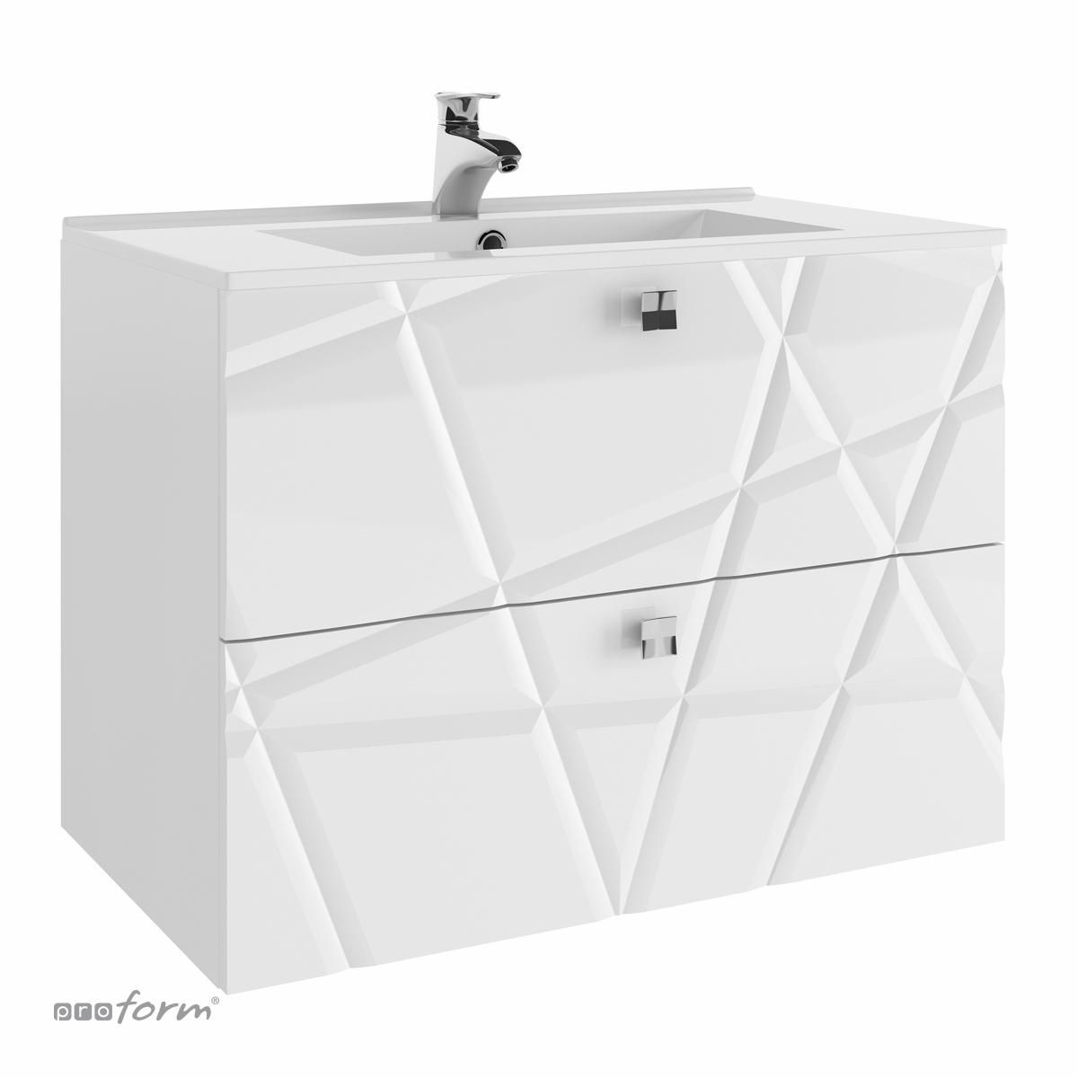 Szafka CRISTALLO pod umywalkę 80 z dwoma szufladami biała