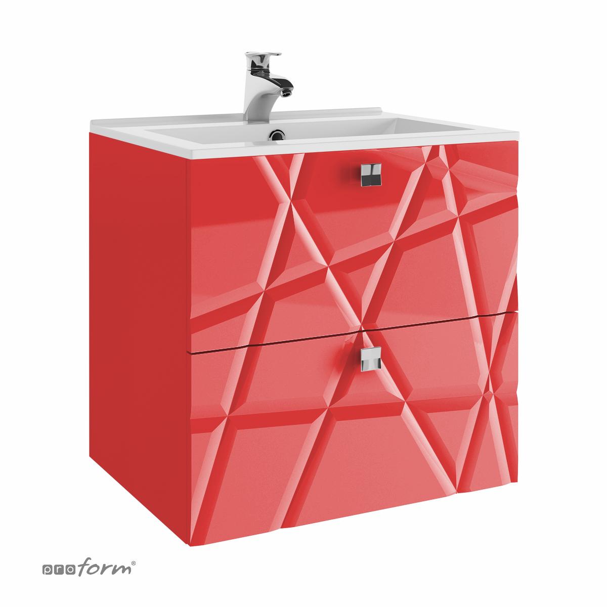 Szafka CRISTLLO pod umywalkę 60 z dwoma szufladami czerwona