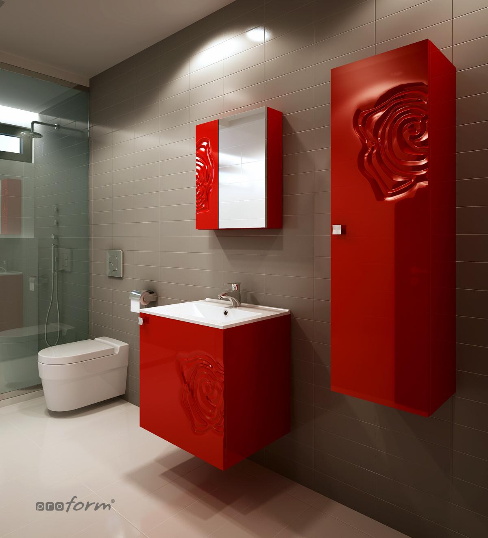 Szafka ROSE pod umywalkę 80 czerwona