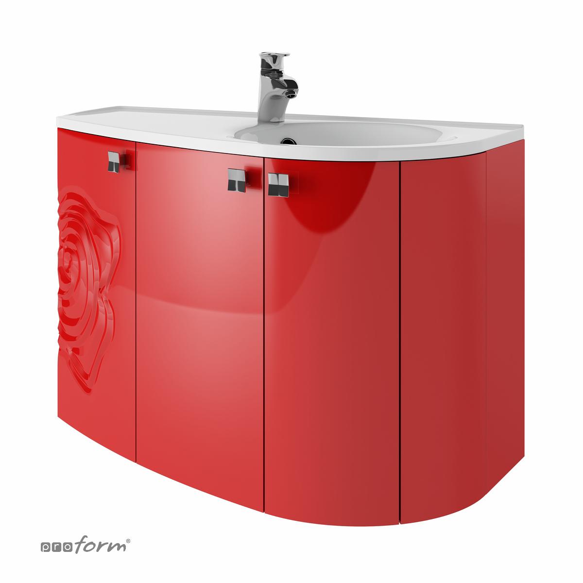 Szafka ROSE pod umywalkę gięta czerwona