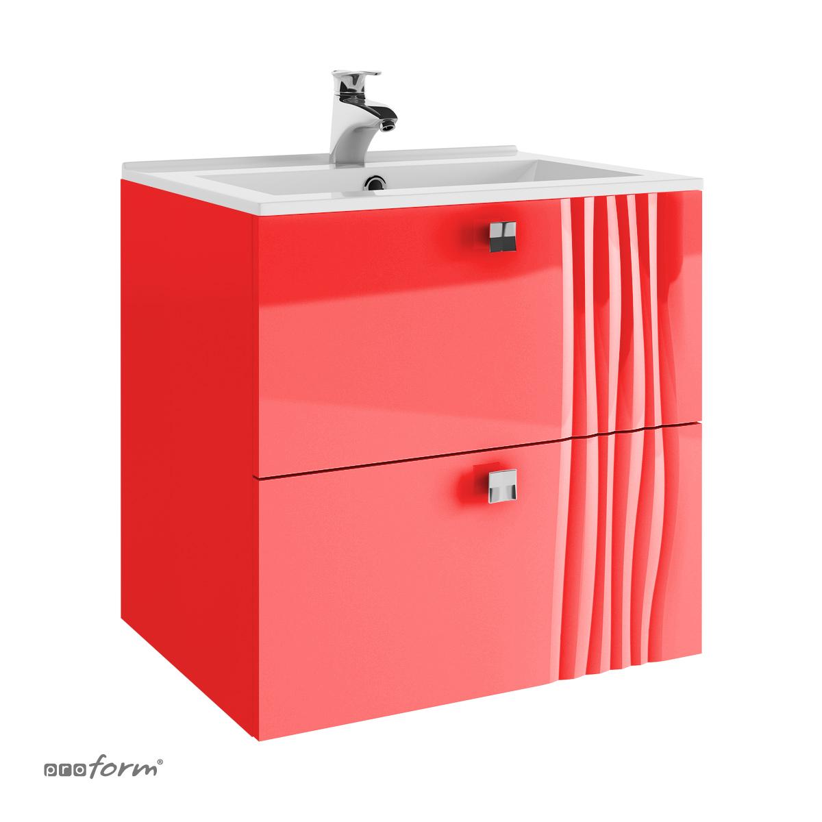 Szafka GRAFIATTO pod umywalkę 60 2 szuflady czerwona