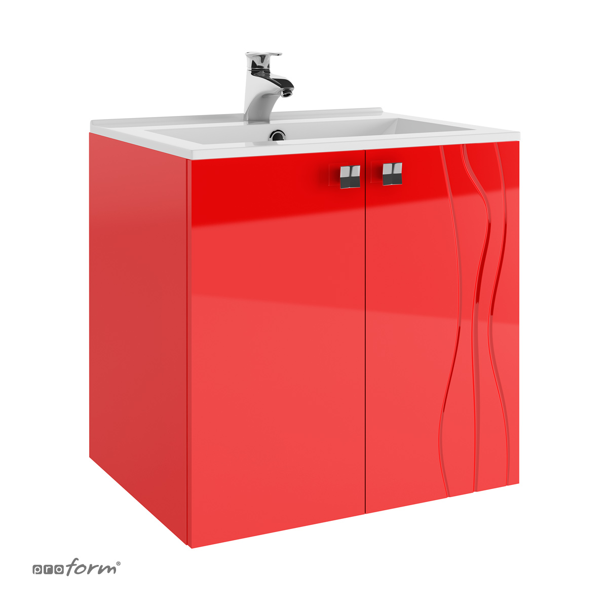 Szafka ONDE pod umywalkę 60 2 fronty czerwona Proform