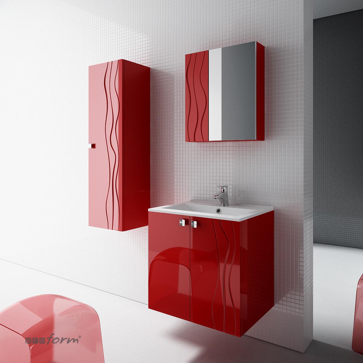 Szafka ONDE pod umywalkę 60 2 fronty czerwona