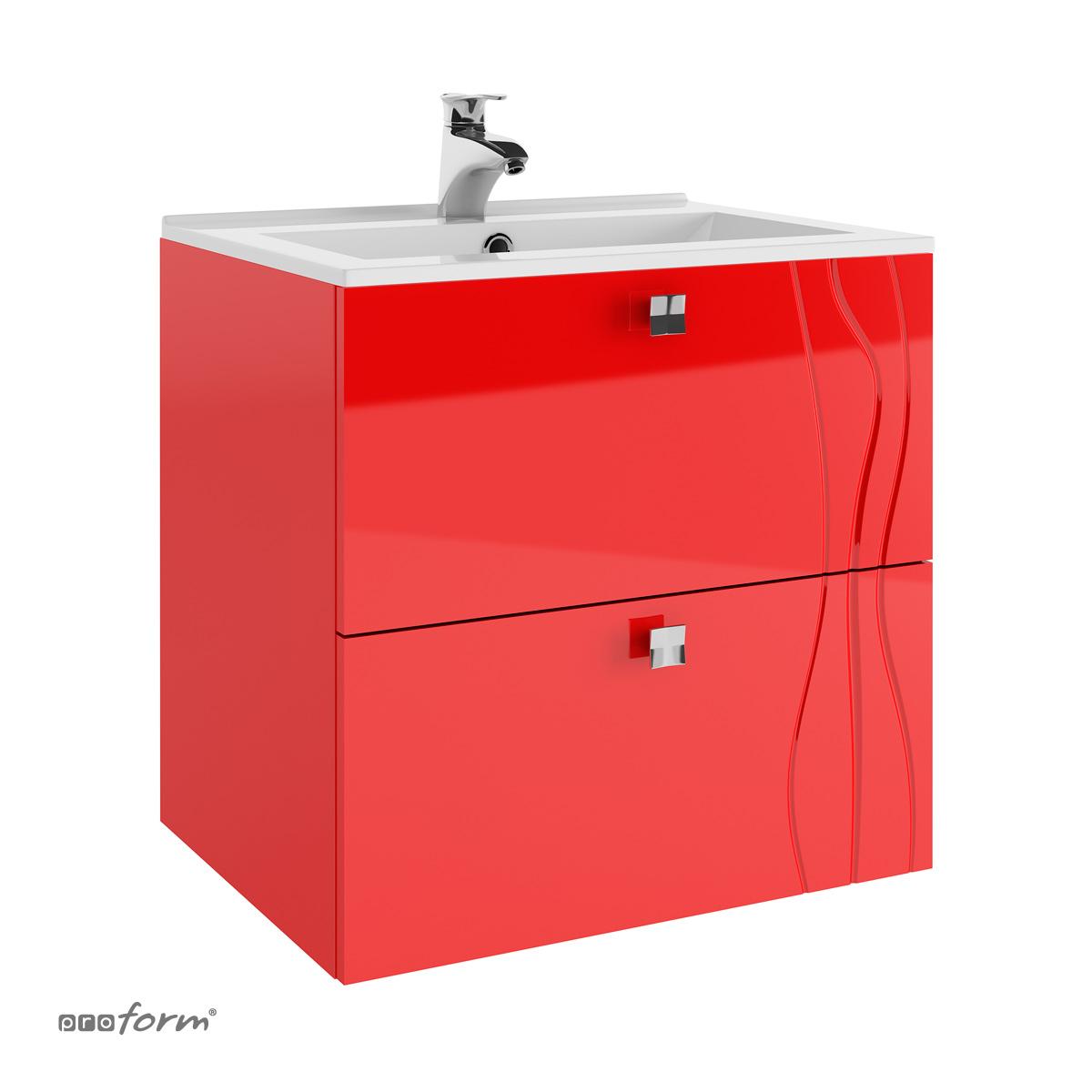 Szafka ONDE pod umywalkę 60 2 szuflady czerwona